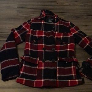 American Eagle red plaid button up coat small